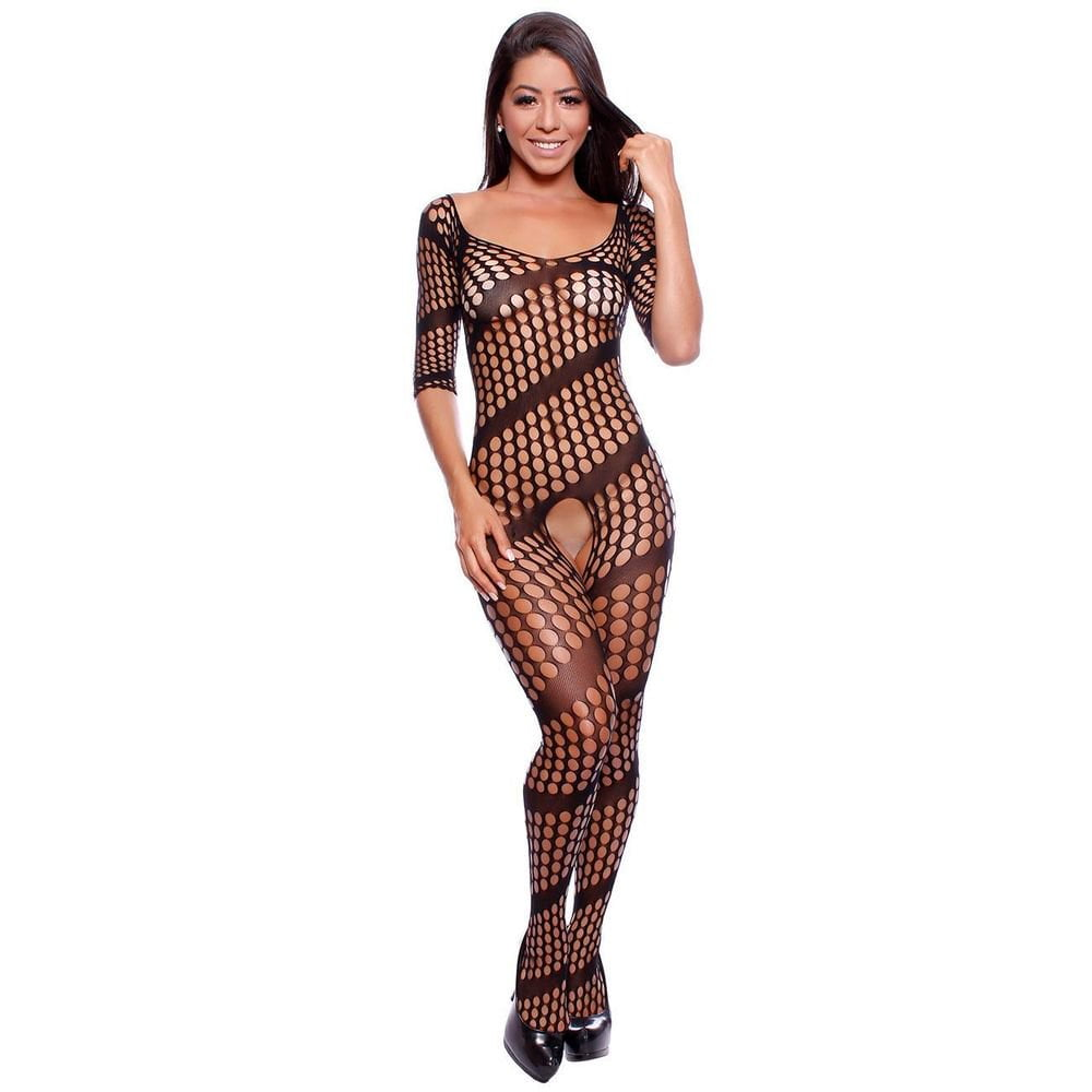MACACÃO ARRASTÃO MANGA LONGA BODY STOCKING IMPORT