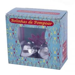 KIT BOLINHA DE POMPOAR CROMADA 02 UNIDADES PAU BRASIL