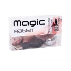VIBRADOR MAGIC RABBIT BULLET CROMADO COM CABO USB