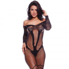 BODYSTOCKING MACACÃO RENDADO ALINE IMPORT